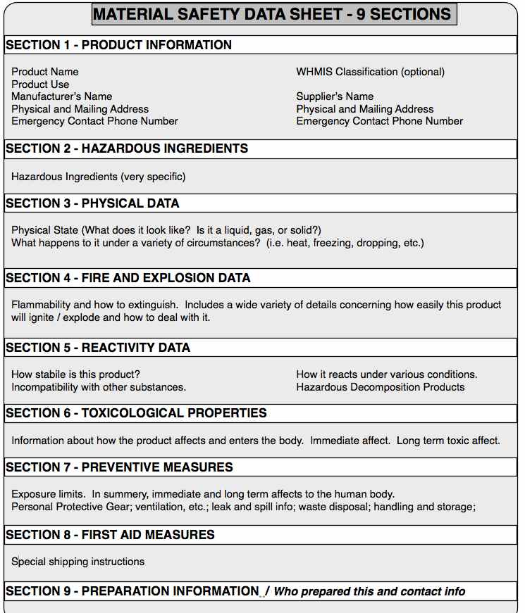 Msds binder related keywords msds binder long tail for Osha sds template